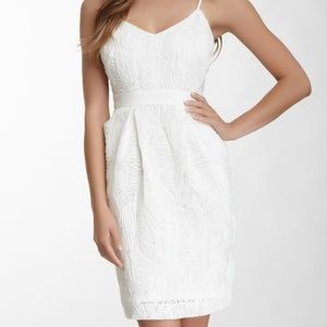 Vince Camuto Embroidered Mesh White Ponte Dress